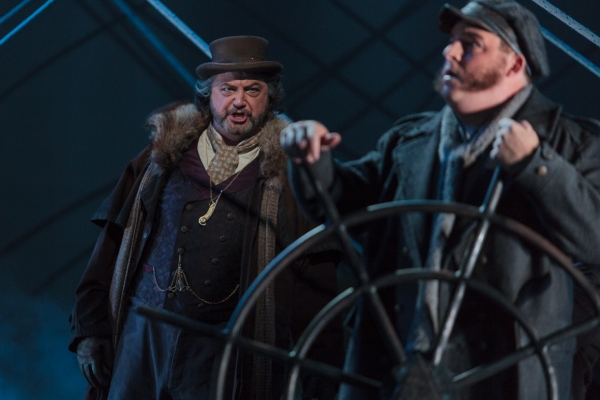 Peter Volpe as Daland (left) and Adam Bielamowicz as the Steersman