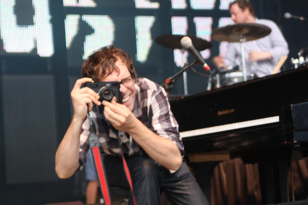 Photo by Steve DeWeese. Ben Folds snaps a photo from stage during a July 5 concert at the Lifestyles Communities Pavilion.