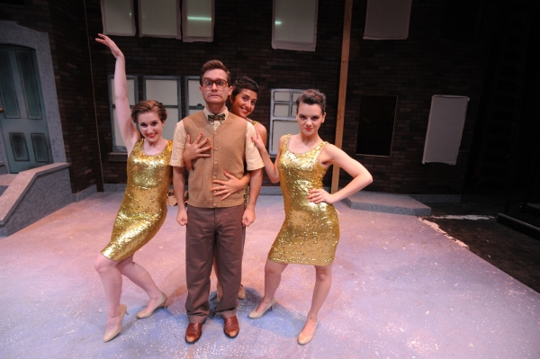 Monica Brown (Crystal), Preston Pounds (Seymour), Marina Pires (Chiffon), and Haley Jones (Ronnette) in the Otterbein Summer Theatre production of Little Shop of Horrors.  Photo Credit: Ed Syguda