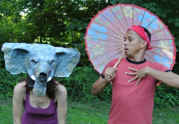 Jenny Tibbels-Jordan and Ron Dizon in The Elephant Calf. Mask by Joe Osheroff.