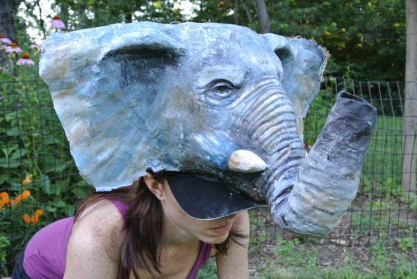 Jenny Tibbels-Jordan in The Elephant Calf. Mask by Joe Osheroff. Photo