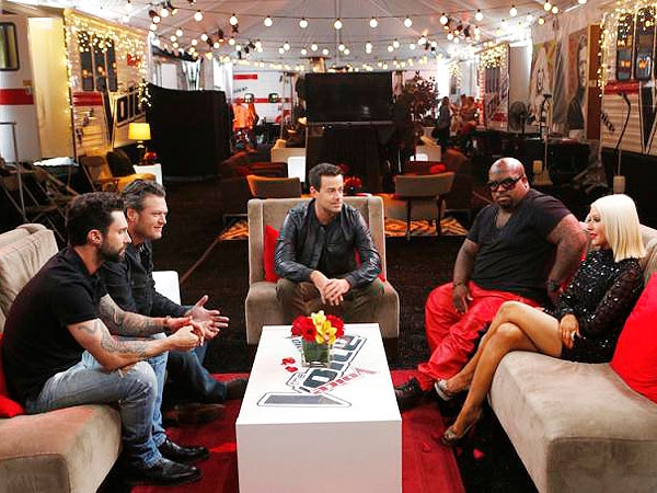 Adam Levine, Blake Shelton, Carson Daly, Cee Lo Green and Christina Aguilera