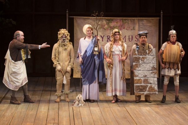 Old Globe Associate Artist Charles Janasz as Peter Quince, John Lavelle as Snug, Donald Carrier as Starveling, Sean-Michael Wilkinson as Flute, Triney Sandoval as Snout and Miles Anderson as Bottom