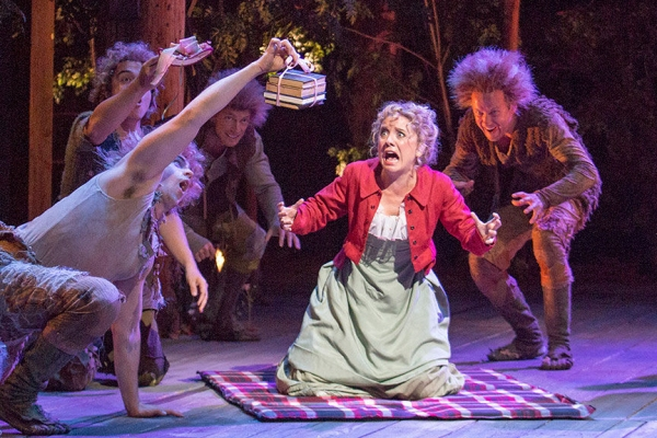 Winslow Corbett as Hermia with (from left) Robbie Simpson, Christopher Salazar, Matthew Bellows and Jeremy Fisher