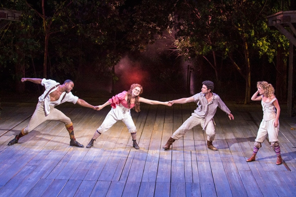 Nic Few as Demetrius, Ryman Sneed as Helena, Adam Gerber as Lysander and Winslow Corbett as Hermia
