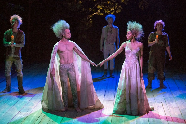 Jay Whittaker as Oberon and Krystel Lucas as Titania with (background, from left) Matthew Bellows as a Fairy, Lucas Hall as Puck and Christopher Salazar as a Fairy
