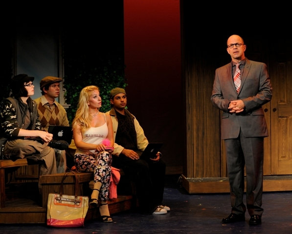 Christopher Swan as Professor Callahan (right) teaches his students portrayed (from left) by Sarah Pierce as Enid, Brad W. Kirton, Alyssa Gorgone as Elle Woods, and Derek Capobianco about ''Blood in the Water''