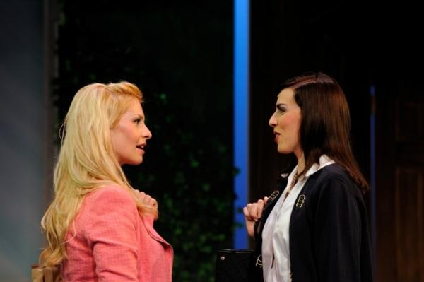 (from left) Alyssa Gorgone and Laura Scherf portray Elle Woods and Vivienne Kensington