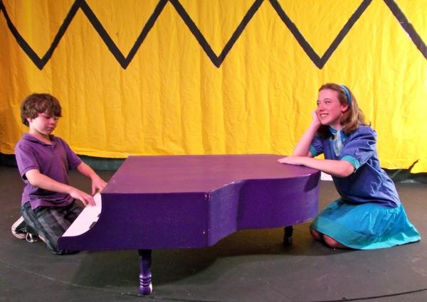 R.J. Harkin as Schroeder and Jillian Kirlin as Lucy