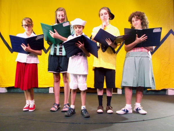 Fallyn Kirlin as Marcy, Corinne Philbin as Peppermint Patty, Collin Larson as Shermie, Maya Daley as Charlie Brown, and Capri Agresta as Frieda