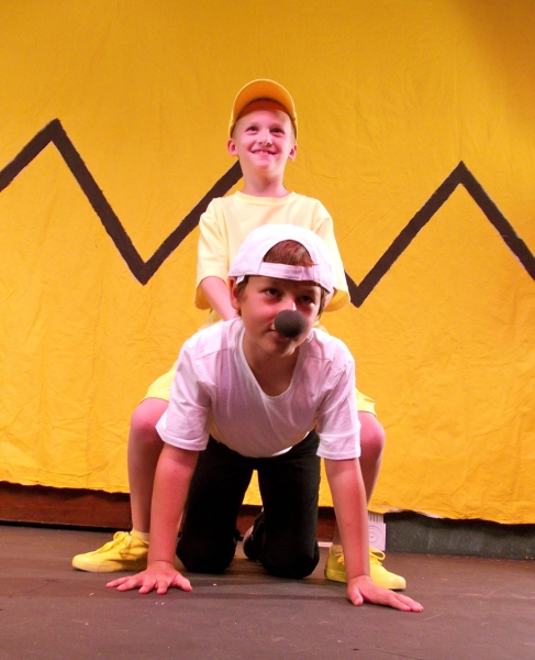 Collin George as Woodstock and Miles Synder as Snoopy