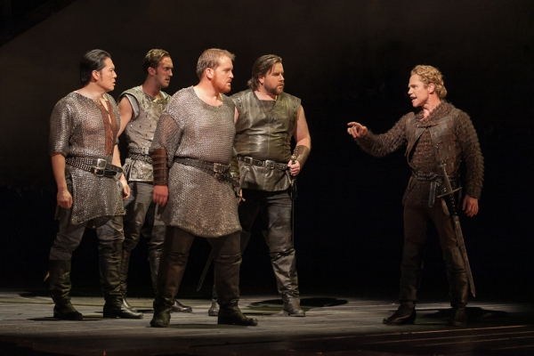 Wayne Hu as Sir Sagramore, ensemble member Danny Lindgren, Clay Hilley as Sir Dinaden, Noel Bouley as Sir Lionel and Jack Noseworthy as Mordred