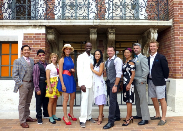 The cast of Oscar Wilde''s LADY WINDERMERE''S FAN (from left: Feodor Chin, Scott Keiji Takeda, Allie Jennings, Teri Reeves, Owiso Odera, Amielynn Abellera, Brian Staten, Tess Lina, Peter Wylie, and George Wyhinny)