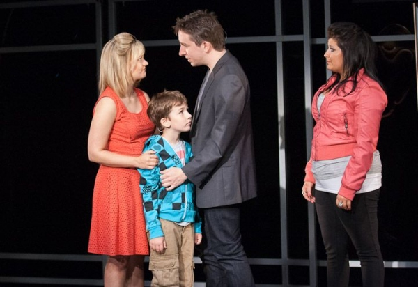 Alison (Erin Driscoll, left) and Evan (James Gardiner) take some first steps toward trusting each other as Evan's grandson Jesse (Holden Browne) and daughter Makalo (Carolyn Cole) take some first steps toward trusting him.