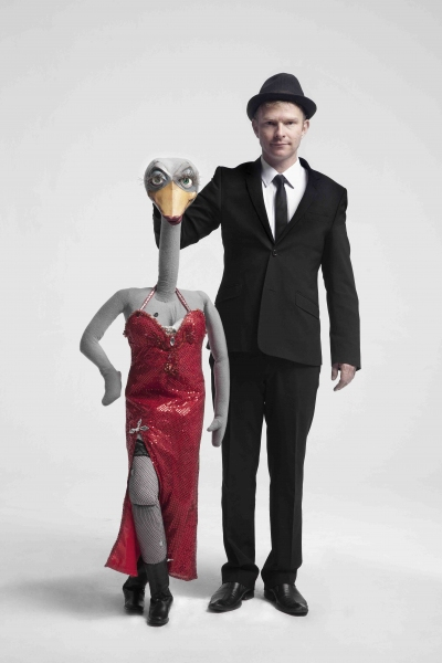 Hilary the Ostrich and and Conrad Koch Photo