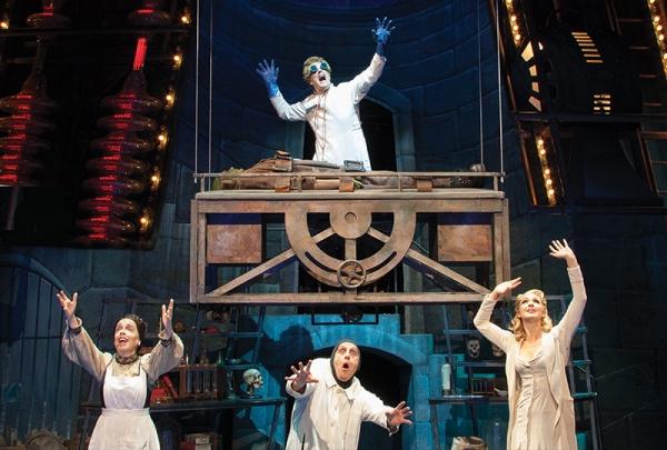 John Bolton (Dr. Frankenstein), Bradley Nacht (The Monster), L-R: Sandy Rosenberg (Frau Blucher), Nathan Klau (Igor), Lara Seibert (Inga)