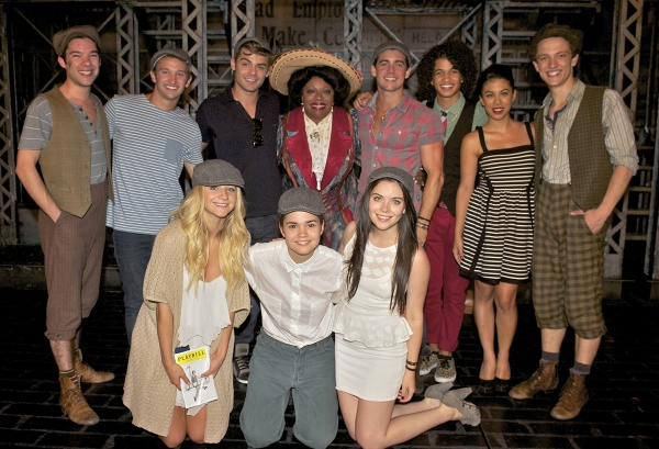 Stars of the highly anticipated ''Teen Beach Movie'' at New York''s Nederlander Theatre for a production of Tony Award-winning ''Newsies'' in which their co-star LaVon Fisher-Wilson also performs.  The highly anticipated Disney Channel Original Movie, a r