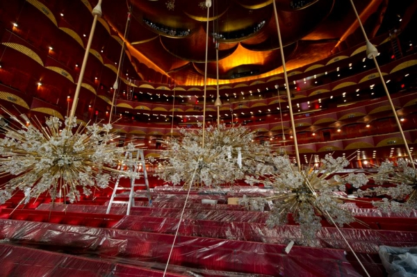 Photo Flash: Chandelier Cleaning at the Metropolitan Opera