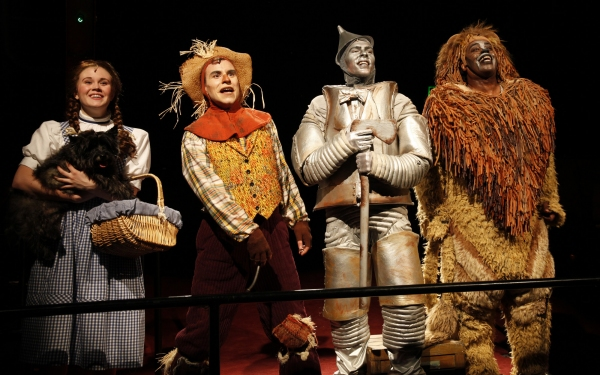 Danielle Bowen (Dorothy), Paul Sabala (Scarecrow), Joe Moeller (Tinman), and Lance Roberts (Lion)