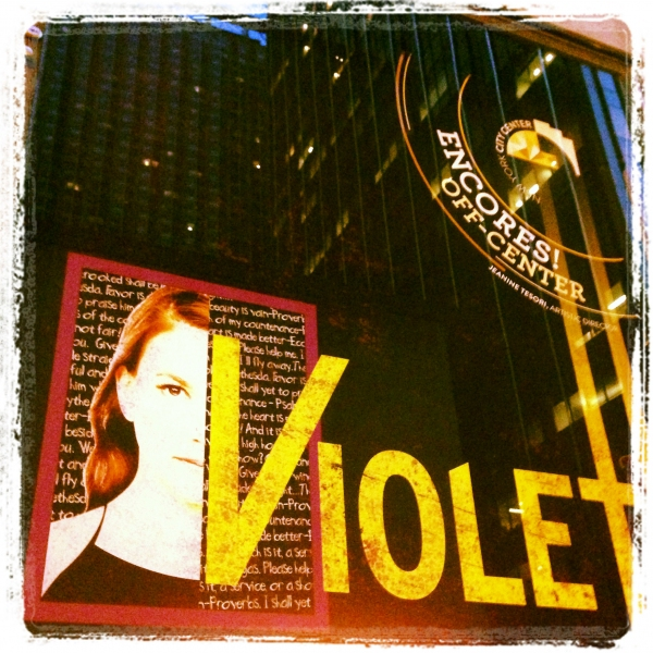 Theatre Marquee for Encores! Off-Center One Night Only Performance of ''Violet'' at City Center on July 17, 2013 in New York City.