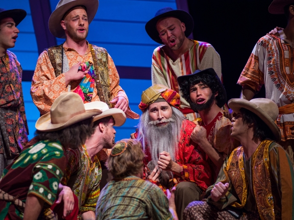 Simeon (Brad Rupp) leads Joseph''s brothers in ''One More Angel in Heaven/Hoedown'' to comfort Joseph''s father, Jacob (Jesse Berger). - Leonardo Altafini, David Kirsch, Brad Rupp, Colin Lee, Scott Shedenhelm, Jesse Berger, Joey Donnelly, Jeremy Sartin, N