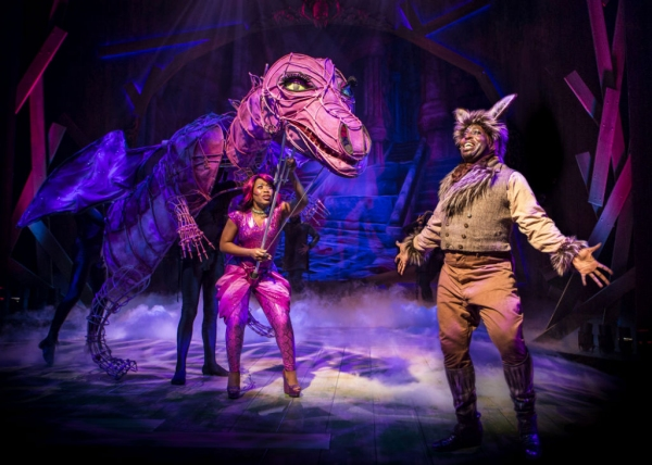 Alexis J. Rogers as the Dragon and James Earl Jones II as Donkey