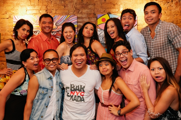 HERE LIES LOVE cast members pose with the new owner of Ugly Kitchen restobar in the East Village: (Top) Debralee Daco, Randy Gener, Ruthie Ann Miles, Maria-Christina Oliveras, Jaygee Macapugay, Nathaniel P. Claridad and Jose Llana; (bottom) Melody Butiu,