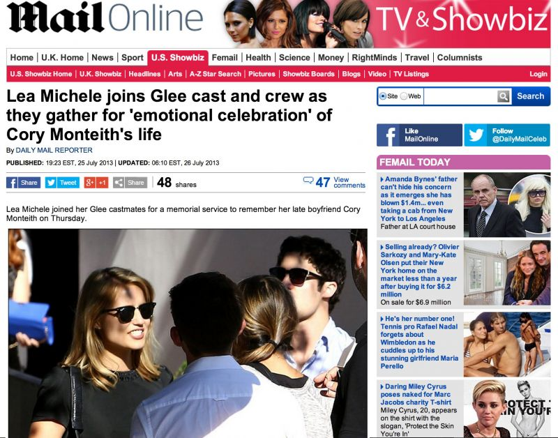 Lea Michele Cory Monteith Funeral