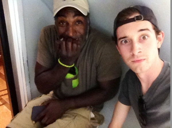 Norm Lewis and Connor Deane inside the famous Gateway Arch