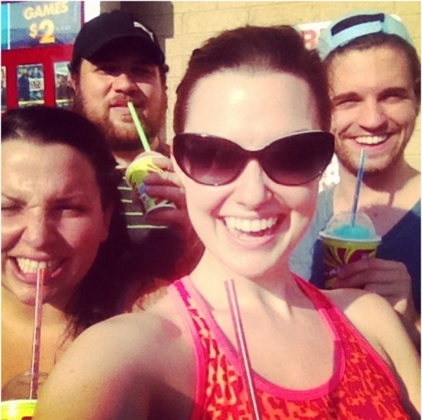 Post rehearsal slushies: Katie Sarno, Dane Burk, Russell McCook and Haley Henderson