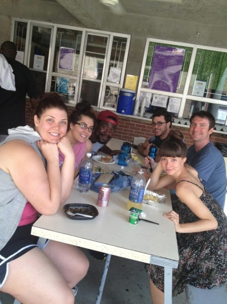 Tiffany Green, Samantha Rey, Monte J. Howell, James Jarrott, Matt (pianist) and Katie Travis having lunch at the MUNY canteen