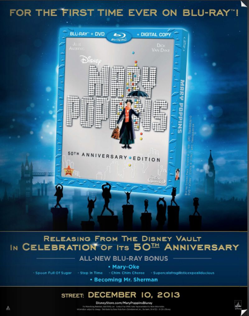 MARY POPPINS 50th Anniversary Blu-Ray Released Today