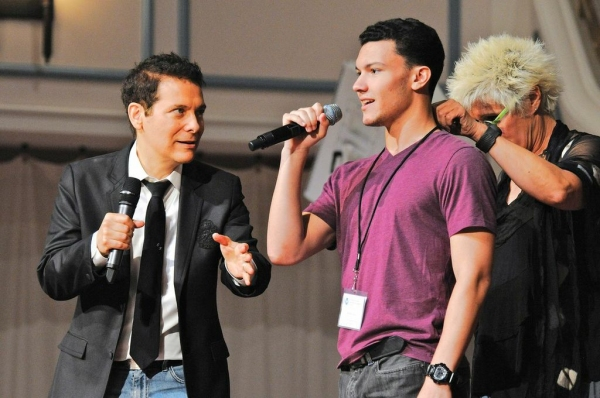 Mentors Michael Feinstein and Sylvia McNair work with Brandon Rene Ocasio