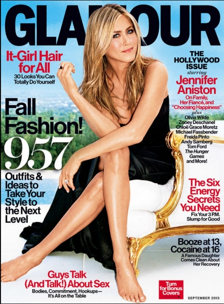 Jennifer Anniston on the cover of GLAMOUR magazine''s September issue