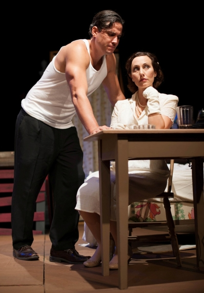 Tim Brown as Stanley and Rachel McGinnis Meissner as Blanche. Photo by Alexs Ortynski.