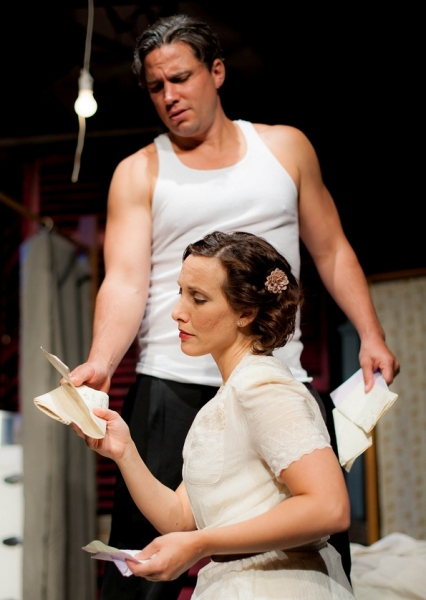 Tim Brown as Stanley and Rachel McGinnis Meissner as Blanche. Photo by Alexs Ortynski Photo