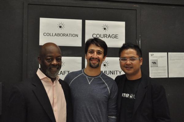 Otis Sallid, Lin-Manuel Miranda and Victor Maog