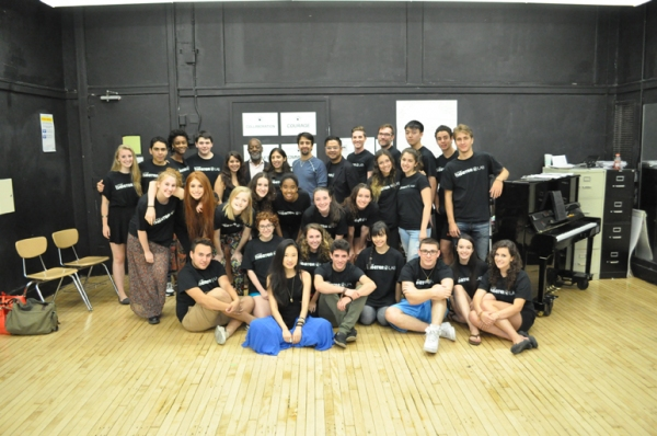 Otis Sallid, Lin-Manuel Miranda, Victor Maog, and the students of Waterwell Summer Theater Lab