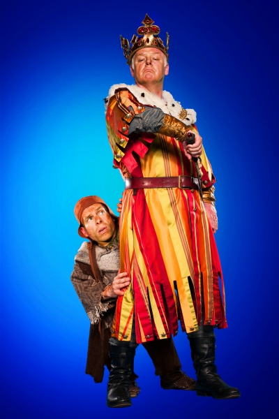 Warwick Davis as Patsy and Les Dennis as King Arthur