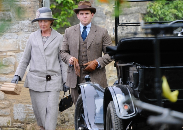 Mandatory Credit: Photo by Joan Wakeham/Rex / Rex USA (1630961ah)Penelope Wilton and Allen Leech''Downton Abbey'' on set filming, Bampton, Oxfordshire, Britain - 06 Aug 2013