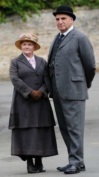 Mandatory Credit: Photo by Joan Wakeham/Rex / Rex USA (1630961h)Lesley Nicol and Jim Carter''Downton Abbey'' on set filming, Bampton, Oxfordshire, Britain - 06 Aug 2013