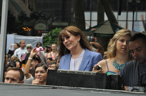 Patricia Richardson watching the cast of Annie perform