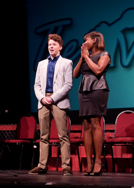 Archbishop Carroll student Austy Hicks, 16, reacts upon hearing his name called as the winner of The Media Theatre''s ''The Vocalist''.
