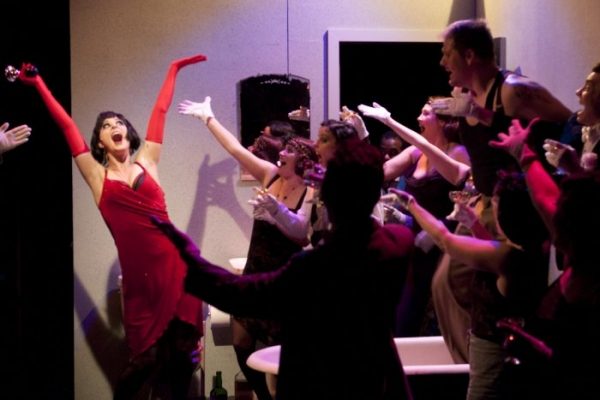 Allison Standley as Kate, Troy Wageman as Burrs   and the cast of The Wild Party Photo