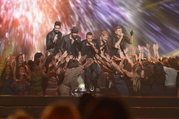 Pictured: (l-r) Kevin Richardson, AJ McLean, Howie Dorough, Brian Littrell, Nick Carter -- (Photo by: Virginia Sherwood/NBC)