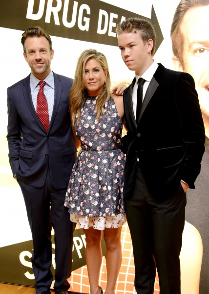 Mandatory Credit: Photo by REX USA/Jonathan Hordle/Rex (1659179h)Jason Sudeikis, Jennifer Aniston and Will Poulter''We''re the Millers'' film premiere, London, Britain - 14 Aug 2013