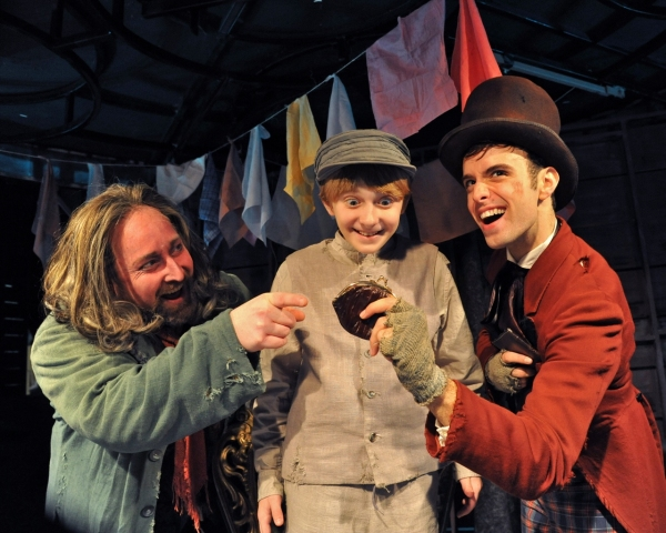 John Anthony Lopez (as Fagin), Brandon Singel (as Oliver) and Todd Ritch (as the Artful Dodger)