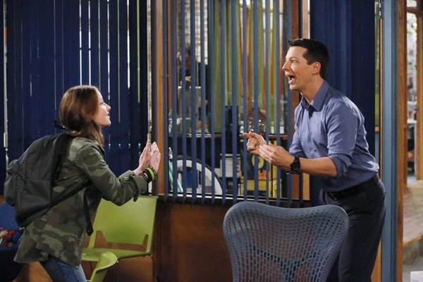 Samantha Esler as Ellie, Sean Hayes as Sean -- (Photo by: Vivian Zink/NBC)