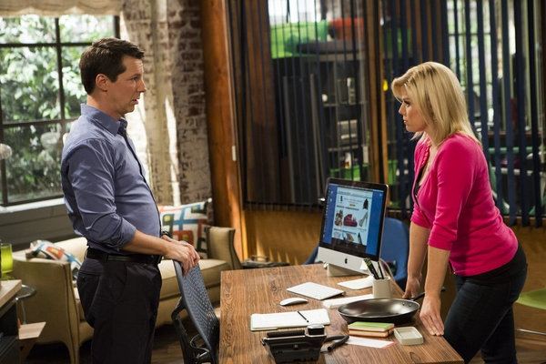 Pictured: (l-r) Sean Hayes as Sean, Megan Hilty as Liz -- (Photo by: Justin Lubin/NBC)