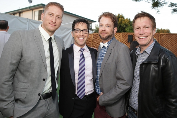 Directors Guy Shalem and Don Roos flank actors Dan Bucatinsky (ABC''s ''Scandal'') and Sam Pancake (NBC''s ''Growing Up Fisher'').